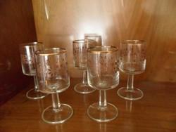 5 db aranyozott szegélyű, mintás röviditalos/pálinkás/likőrös pohár
