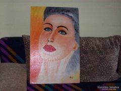 Dekoratív   Női fej. Nagy János . Olaj, karton, 68×44 cm Aukción vásároltam LEÁRAZÁS