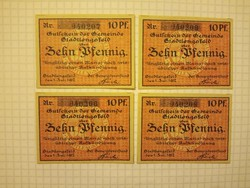 10 Pfennig 1917 4 darab  sorszámkövető Unc !!