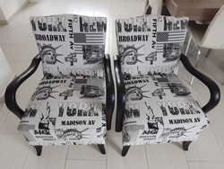 Art deco hajlított fa karfás fotel 2db