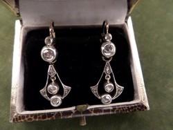 Gyémántos szecessziós arany fülbevaló pár