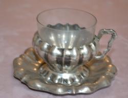 Ezüst mokkás csésze üvegbetéttel Dianna fej ezüstjellel hibátlan állapotban