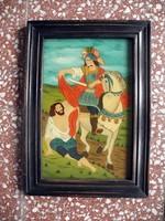 Szent Márton Üveghátlap festmény