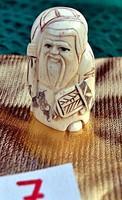 Antik, kézi faragású eredeti Csont Netsuke szobor akciós áron, visszavonásig.   (7)