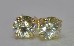 Szép valódi 1,44ct  Moissanite gyémántos arany fülbevaló