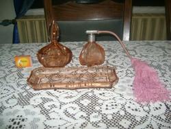 Régi metszett üveg parfümös készlet - három darabos