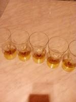 Borostyán színű (sárga talpú és szárú) pezsgős pohár 5 db
