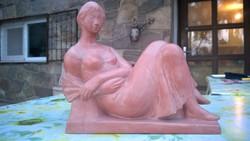 Deák László Legyezős fiatal leány terrakotta szobor,figura hibátlan 60-as évek