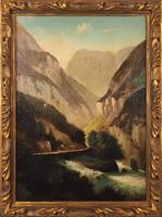 Ismeretlen festő: Alpesi tájkép folyóvölggyel, 19. sz. vége