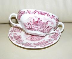 Angol porcelán füles csésze és tányér