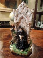 Antik Cseh Porcelán Pot-pourri Illatosító Váza Dísz Dísztárgy Potpourri Szerzetes Figura