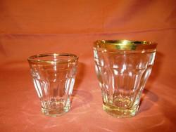 2 db retro üveg pohár aranyszínű csíkkal