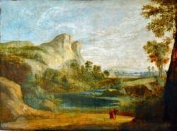 Itáliai tájkép festmény, 1800-as évek második fele, 76,5 x 102 cm, olaj vászon, jelzés nélkül