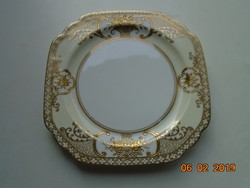 NORITAKE luxus japán porcelán,aranybrokát virágkosár mintával-16,2x16,2x1,5 cm