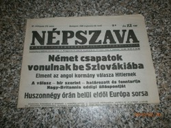 Népszava újság eladó(1939 Augusztus 29)
