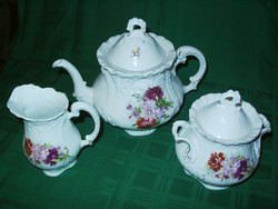 Antik ritka Victoria Carlsbad teáskanna, cukortartó, tejkiöntő