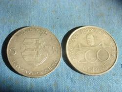 EZÜST 5 FORINT 1947 + 200 FORINT 1994,  2 DB!! FT