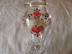 Antik üveg csőrös kúrapohár, pipa szerelmes galambokal