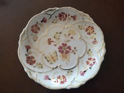 Csodaszép, különleges Zsolnay pillangós díszes süteményes tányér hibátlan, új