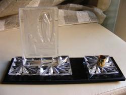 Ima Szűz Máriához asztali kristályüveg dísz gyertyatartóval