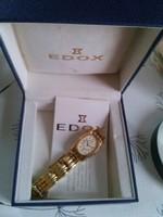 Edox női számozott  svájci karóra, vízálló, dobozában, papírjával