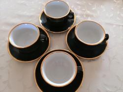 WALKÜRE BAYREUTH fekete/arany kávés, cappuccinós, teás csésze alátéttel 4 db