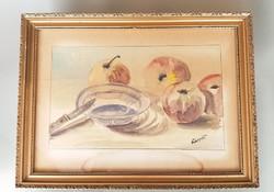 Akvarell gyümölcsös csendélet festmény 46 x 34 cm