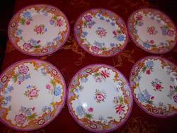 6 db antik kézzel festett porcelánfajansz tányér