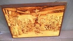 Hatalmas (égetett?) fa falikép vendéglők, fogadók pompás dísze