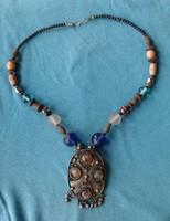 Antik? afgán szép fémműves nyakék / nyaklánc ásvány / drágakő ACHÁT kézimunka!