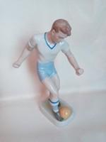 Ritka mintás, régi, drasche focista porcelán figura