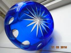 Csiszolt kobalt üveg fém peremmel-9x4,3 cm