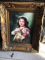 Lány virágcsokorra olaj festmény