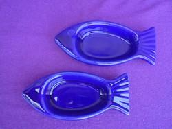Hal formájú kék porcelán hamutál párban