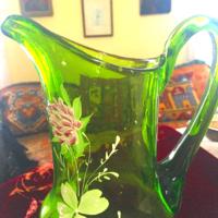 Szecessziós kézzel festett üvegkancsó