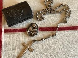 Antik ezüst tárgyak szelence,rózsafűzér,amulett