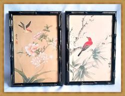 Eredeti japán festett selyemképek bambusznád keretben