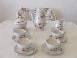 Lila virágos kávés készlet 4 csészével
