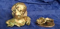 Két eozin színű tárgy. Egy angyalfej gyertyatartóval. Károlyfi Zsófia Prima díjas  művei