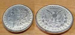 Amerikai egy dolláros 1885, ezüstözött kópia.