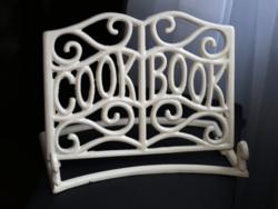 Öntöttvas krémszínű szakácskönyv tartó könyvtartó