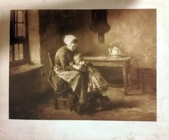 Antik kép : Gyermeki szeretet. Mérete:26x31 cm