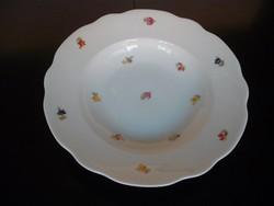 Régi, apró virágos Zsolnay porcelán mély tányér pótlásra