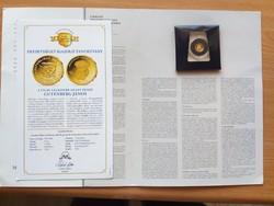 A világ legkisebb arany érméi:Gutenberg János