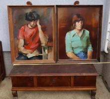 Gyöpös Miklós festmények, 60x80+keret, 2 db festmény