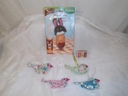 5 db - 1 db Nyuszi alakú tojás sapka - 4 db  függeszthetö textil madárka, húsvéti dekoráció