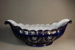 Porcelán kék , aranyozott asztal közép