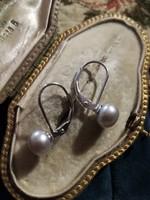 Ezüst gyöngyös fülbevaló patent zárral ag925