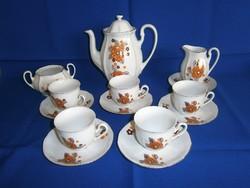 Nagyon régi Arpo virág mintás porcelán kávés készlet