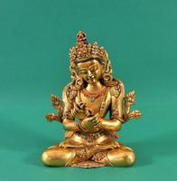 Bronz tűziaranyozott Budda, 18. század, Himalája